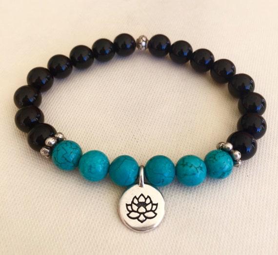 Wrist Mala Beads Black Onyx Turquoise Silver Lotus Root Chakra, Protection, Grounding, Healing Stress Relief , Creativity