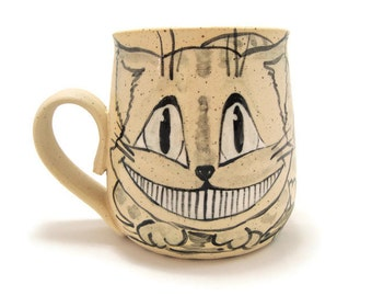 Cheshire cat mug Alice in Wonderland mug Cheshire cat pottery Unique pottery gift Cheshire cat smile Cat lovers gift Wonderland cat gift mug