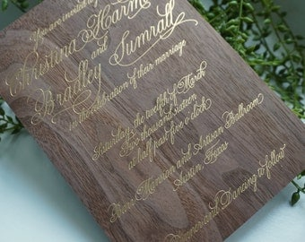 Wood Invitations with Foil Printing