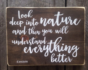 Look deep into nature and then you will understand everything better wall sign handwritten font