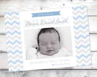 Blue Birth Announcement, Boy Chevron, Photo announcement, baby Boy, baby announcement, Birth Announcements, 5x7,