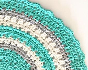 Round Crochet Doily Floor Rug - Mint Grey White T-shirt yarn with free matching basket