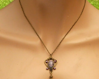 Drop necklace in antique style in purple bronze, Y necklace, crystal necklace, bridal necklace, festive decorations, gift for her