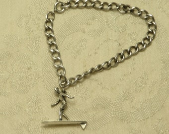 Really cute vintage retro sterling silver beachy beach surfer surfing dude starter charm bracelet