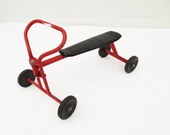 Full Size Toddler Riding Toy - All Metal Scooter - Retired Day-care Scooter - Red and Black Metal - Push and Scoot Toy - Child Size
