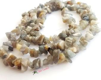 Labradorite Grey chips necklace  80cm around the neck