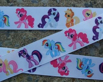 "Pony Ribbon 3 yards My Little Pony Printed Ribbon 7/8"" Rainbow Pony Ribbon"