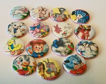 Cute Vintage Style Children's Book Illustrations  set of 15 1 Inch Flat Back Embellishments Buttons Flair Great for Bow Making