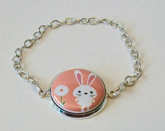 Unique White Easter Bunny with Daisy Peach Background Silver Chain Fashion Bracelet 3 Sizes Available