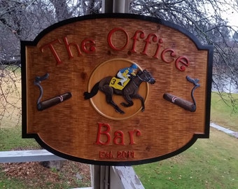 Custom Carved Bar-Pub-Tavern Sign - Cedar Stained and Painted