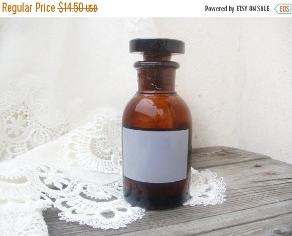 Apothecary Jar Medicine Bottle Brown Glass Jar With Clear Lable Medicine B