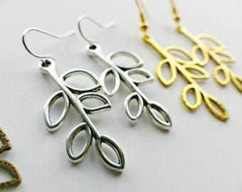 Leaf Drop Earrings | Antique Silver Gold & Bronze