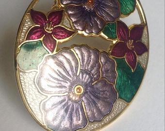 Enamel Flowers Brooch - Violet Pansies Sea Gems - Mothers day