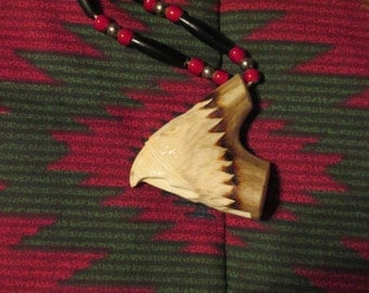Deer Antler Carved Eagle Whistle Necklace with Buffalo Horn Hairpipe
