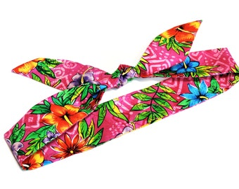 Pink Neck Cooler Bandana, Tropical Hawaiian Floral Hibiscus Cooling Scarf, Gel Stay Cool Tie Body Head Heat Relief Headband Wrap iycbrand