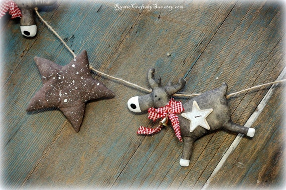 Christmas Garland-Christmas Deer Garland-Star Garland-Christmas Decor Rustic-Primitive Christmas-Country Christmas Decorations