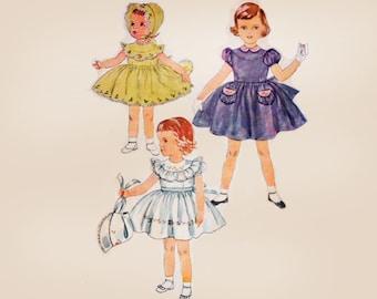 1950s Childrens Vintage Sewing Patterns Girls Dress Pattern / Simplicity 4055 Childs Dress Sewing Patterns for Girls Sewing Patterns Size 3