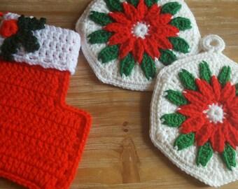 Vintage Handmade Crochet Christmas potholders & stocking