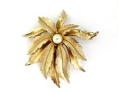 Emmons Brooch - Vintage Flowering Leaf Brooch, Faux Pearl Gold Tone Pin, Gift idea, Gift Box