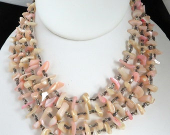 Vintage Mother of Pearl Necklace, Multi-Strand Necklace, Pink and Cream Shell Necklace, Choker Necklace, Tribal Style Necklace