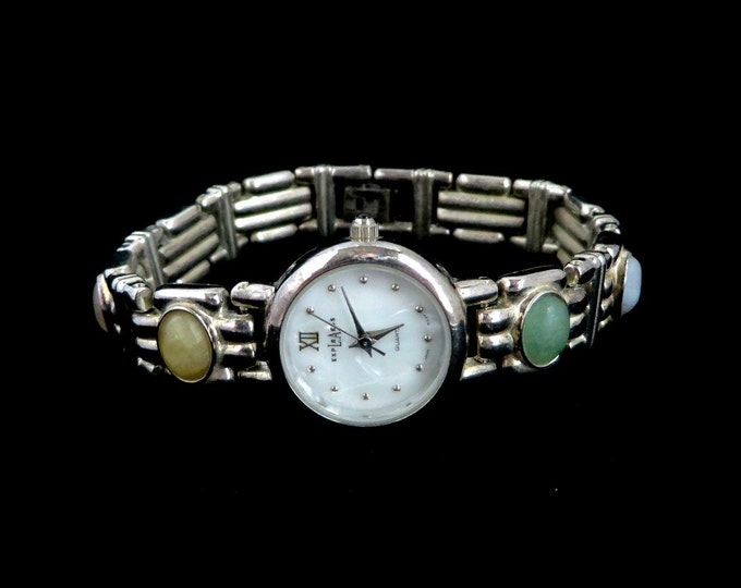 LA Express Vintage Ladies Watch, Gemstone Bracelet Silvertone Wristwatch