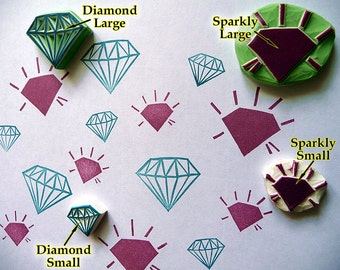 Diamond Rubber Stamps, Gemstone, Hand Carved, Fabric Stamp, Hand Made, Wedding Stamp