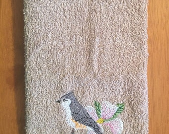 Embroidered ~TITMOUSE BIRD~ Kitchen Bath Hand Towel