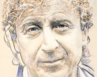 Original, hand drawn portrait of Gene Wilder, in charcoal and pastel on calico