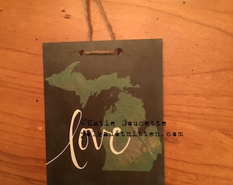 Love Michigan Art Print on Wood
