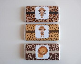 Set of 8+ Jungle Safari Chocolate Wrappers - Safari Party Favor Favour, Jungle Animals Decor, Wild animals party, Safari Party Decor
