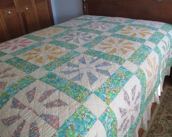 Patchwork WindMill Friendship Full Size Quilt from the 1950s or 60s