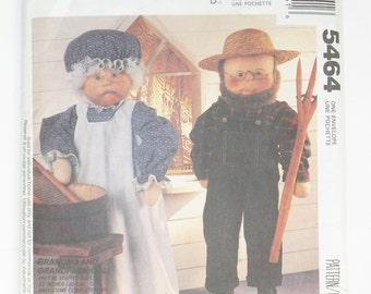 """Doll And Doll Clothing Patterns For A 33"""" Grandma & Grandpa Doll UNCUT McCall's 5464 Craft Sewing Pattern"""