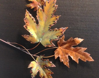 Copper Maple leaf branch heat colored,