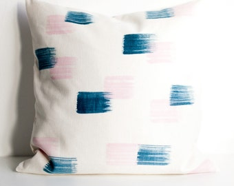 Hand painted brush strokes pillow cover, blue + pink on natural hemp & organic cotton, eco friendly cushion cover, throw pillow, home decor