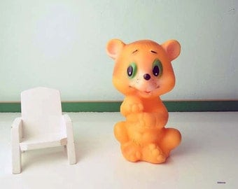 Vintage Soviet Era Rubber Squeaky Toy Bear