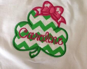 Appliqued shamrock bow personalized shirt