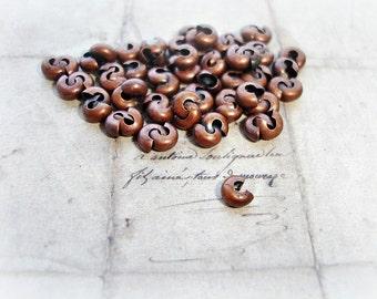 25 Antique Copper Crimp Bead Covers 4mm