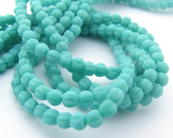 NEW Matte Turquoise 3mm Melon Fluted Round Czech Glass  Beads 100pc #3106
