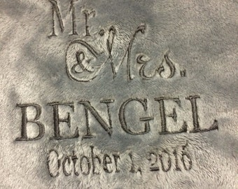 "Wedding gift, blanket, fleece, embroidered with wedding date and ""Mr. & Mrs."""