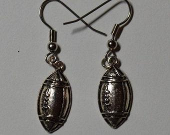 Silver Football Earrings