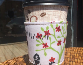 Coffee cozy, Coffee sleeve, reversible and eco friendly