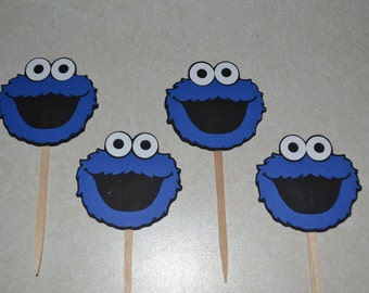 Cookie Monster Inspired Cupcake Picks - Set of 12 - Birthday Party