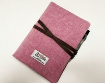 """HARRIS TWEED 7"""" iPad mini case with pocket for A5 notebook - Strap (Notebook NOT included)"""