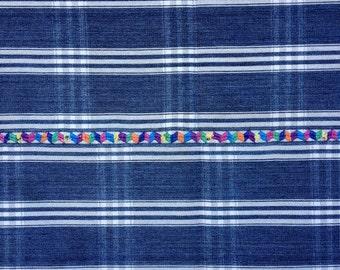 Antique Woven Indigo Plaid Guatemalan Textile