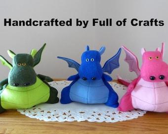 Dragon Stuffed Toy/Pink Dragon Stuffed Animal/Yoki the Fat Dragon Ready Made/DIY Fluffies Dragon/Stuffed Fleece Dragon/Yoki/Dragon Toy/