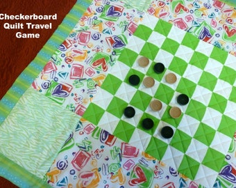 Travel Game Checkerboard Quilt/Checker board Quilt/Toddler Quilt and Pillow/Wood Checkers/Childrens bedding/Educational Toy/Kids gift/Sale