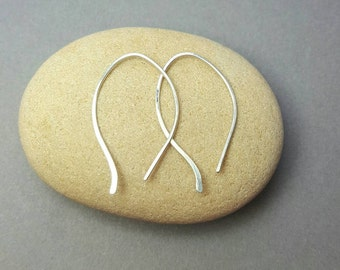 Small Threader Earrings /  Hypoallergenic Sterling Argentium silver earrings /  Hand forged dangle earrings / Hammered Drop earrings /Modern