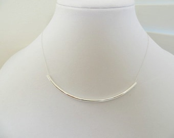 Silver Tube Necklace Sterling Silver Necklace Long Tube Necklace Minimalist Necklace Gift For Her