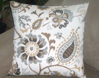 Indoor/Outdoor Pillow Cover In Brown, Taupe and Soft Grey Botanical Print, Indoor Outdoor Pillow Cover, 20 x 20 Inches