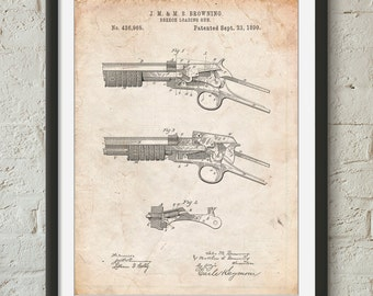 Winchester Model 1890 Gun Patent Art, Gun Enthusiast, Rifle, Gun Print, Hunter Gifts, Browning, PP1135